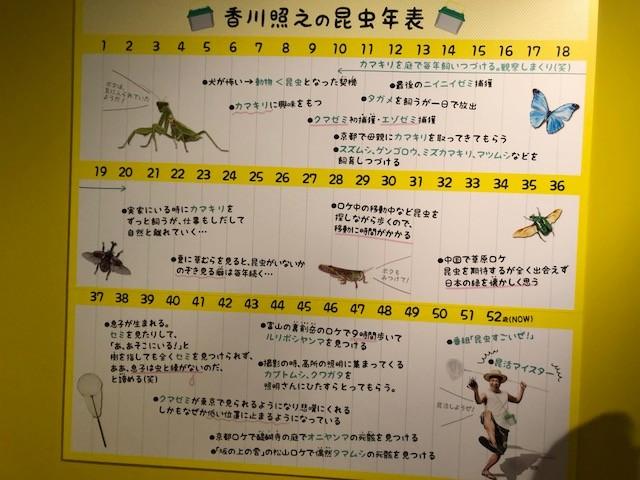 香川照之さんの昆虫と過ごした年表もある。