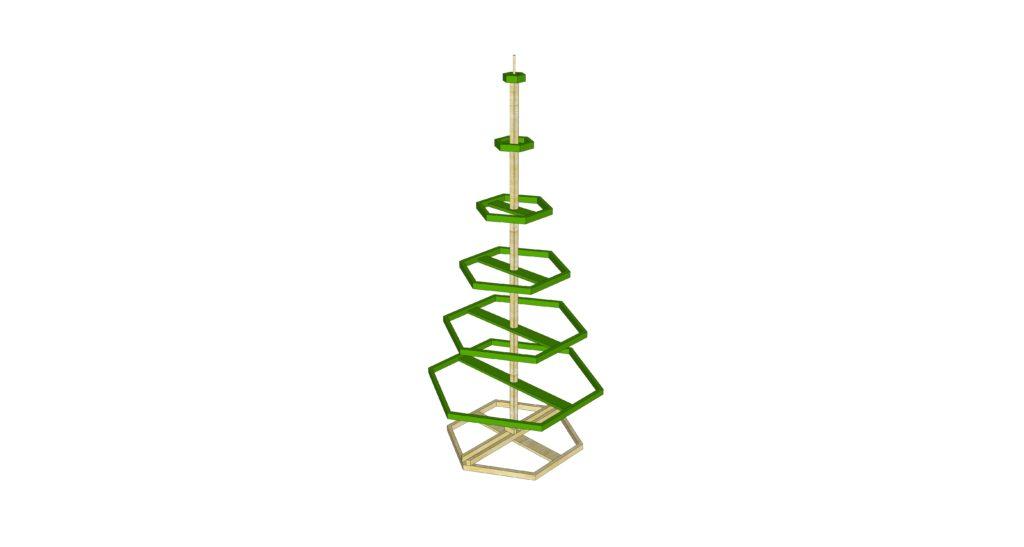 木製六角クリスマスツリー