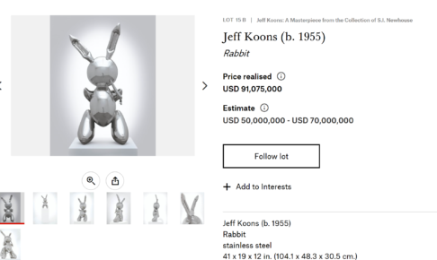 Jeff Koons (b. 1955) Rabbit